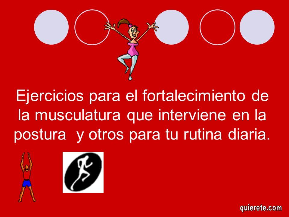 Ejercicios para el fortalecimiento de la musculatura que interviene en la postura y otros para tu rutina diaria.