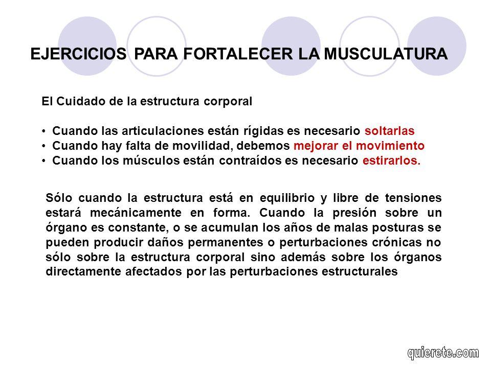 EJERCICIOS PARA FORTALECER LA MUSCULATURA El Cuidado de la estructura corporal Cuando las articulaciones están rígidas es necesario soltarlas Cuando h