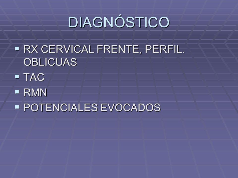 DIAGNÓSTICO RX CERVICAL FRENTE, PERFIL.OBLICUAS RX CERVICAL FRENTE, PERFIL.