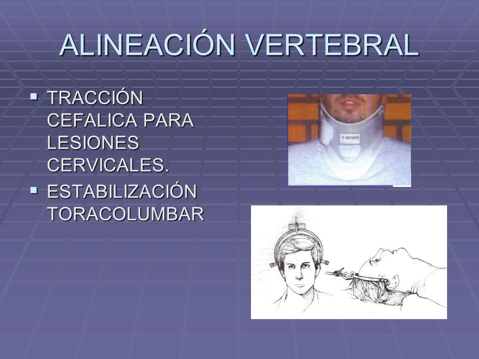 ALINEACIÓN VERTEBRAL TRACCIÓN CEFALICA PARA LESIONES CERVICALES.