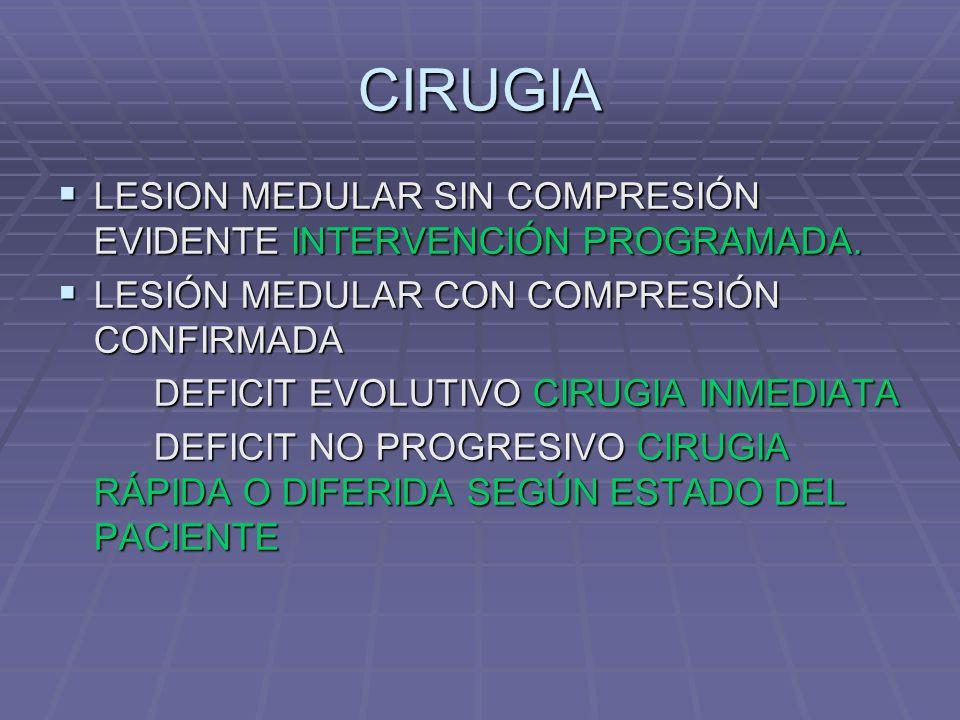 CIRUGIA LESION MEDULAR SIN COMPRESIÓN EVIDENTE INTERVENCIÓN PROGRAMADA.