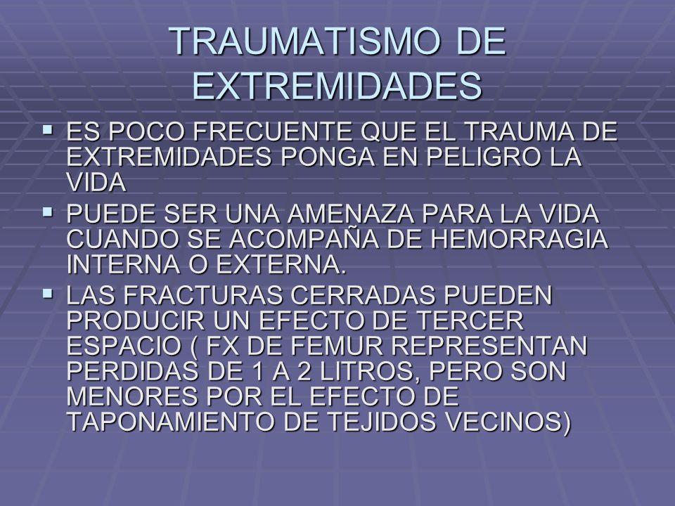 TRAUMATISMO DE EXTREMIDADES ES POCO FRECUENTE QUE EL TRAUMA DE EXTREMIDADES PONGA EN PELIGRO LA VIDA ES POCO FRECUENTE QUE EL TRAUMA DE EXTREMIDADES PONGA EN PELIGRO LA VIDA PUEDE SER UNA AMENAZA PARA LA VIDA CUANDO SE ACOMPAÑA DE HEMORRAGIA INTERNA O EXTERNA.