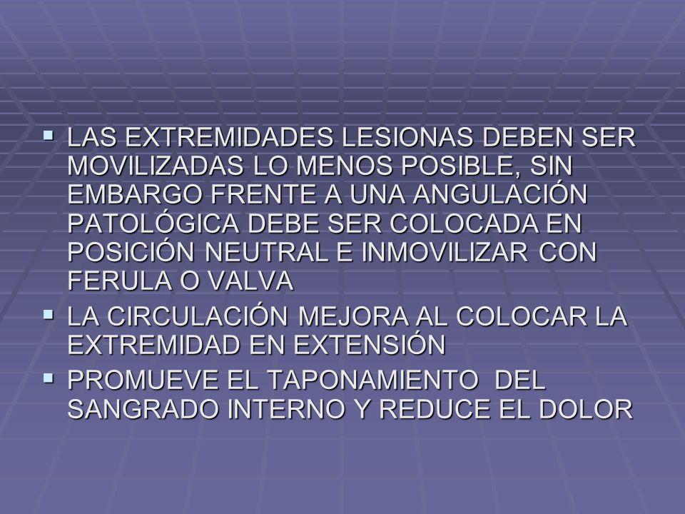 LAS EXTREMIDADES LESIONAS DEBEN SER MOVILIZADAS LO MENOS POSIBLE, SIN EMBARGO FRENTE A UNA ANGULACIÓN PATOLÓGICA DEBE SER COLOCADA EN POSICIÓN NEUTRAL E INMOVILIZAR CON FERULA O VALVA LAS EXTREMIDADES LESIONAS DEBEN SER MOVILIZADAS LO MENOS POSIBLE, SIN EMBARGO FRENTE A UNA ANGULACIÓN PATOLÓGICA DEBE SER COLOCADA EN POSICIÓN NEUTRAL E INMOVILIZAR CON FERULA O VALVA LA CIRCULACIÓN MEJORA AL COLOCAR LA EXTREMIDAD EN EXTENSIÓN LA CIRCULACIÓN MEJORA AL COLOCAR LA EXTREMIDAD EN EXTENSIÓN PROMUEVE EL TAPONAMIENTO DEL SANGRADO INTERNO Y REDUCE EL DOLOR PROMUEVE EL TAPONAMIENTO DEL SANGRADO INTERNO Y REDUCE EL DOLOR