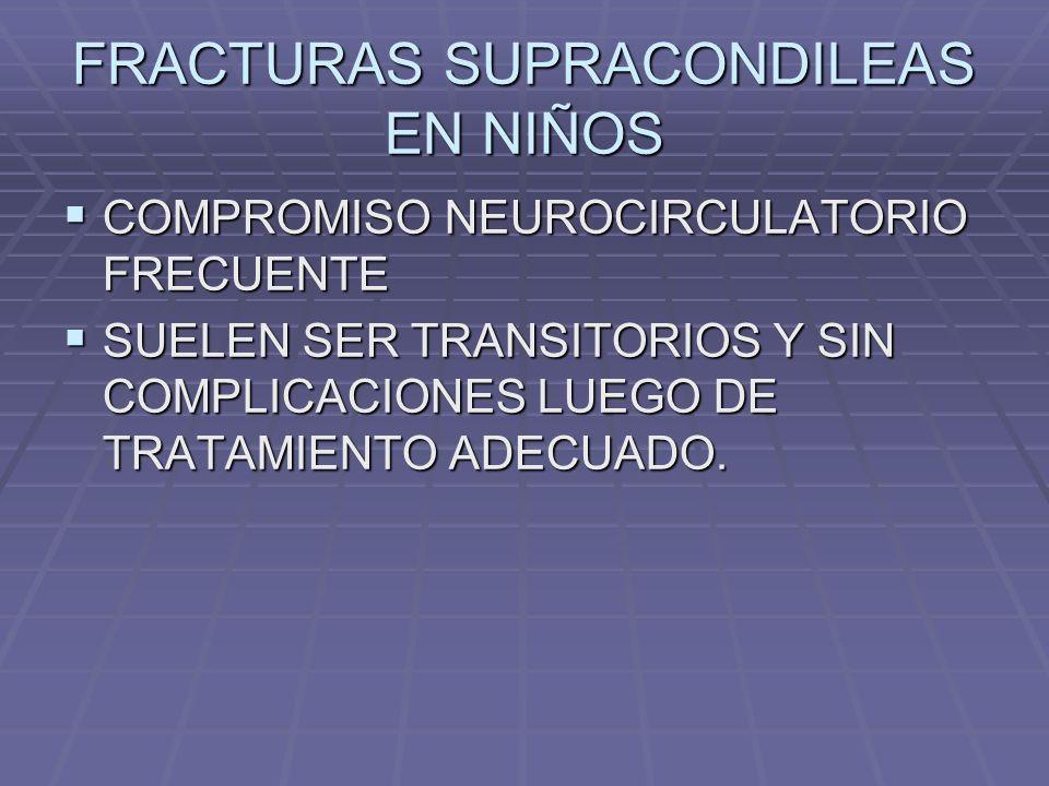 FRACTURAS SUPRACONDILEAS EN NIÑOS COMPROMISO NEUROCIRCULATORIO FRECUENTE COMPROMISO NEUROCIRCULATORIO FRECUENTE SUELEN SER TRANSITORIOS Y SIN COMPLICACIONES LUEGO DE TRATAMIENTO ADECUADO.