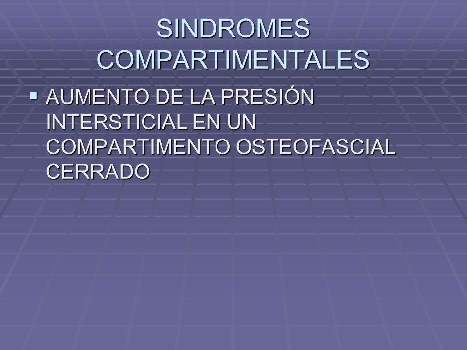 SINDROMES COMPARTIMENTALES AUMENTO DE LA PRESIÓN INTERSTICIAL EN UN COMPARTIMENTO OSTEOFASCIAL CERRADO AUMENTO DE LA PRESIÓN INTERSTICIAL EN UN COMPARTIMENTO OSTEOFASCIAL CERRADO