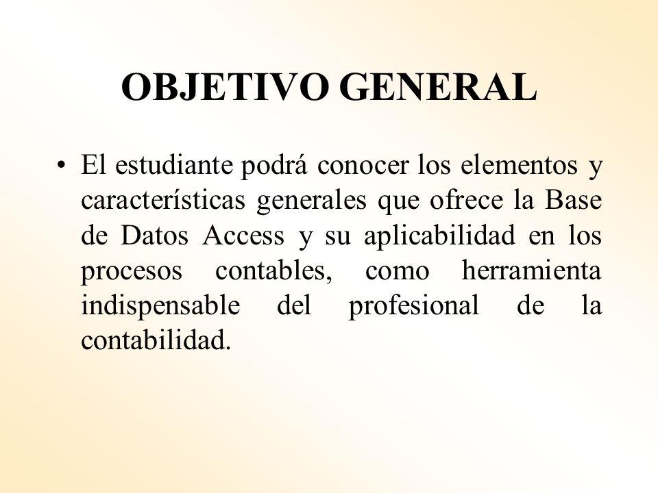 DESCRIPCIÓN: El curso de Diseño de Bases de Datos Contables trata sobre el empleo del programa Access para el manejo eficaz de una gran cantidad de da