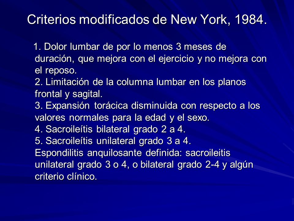 Criterios modificados de New York, 1984.1.