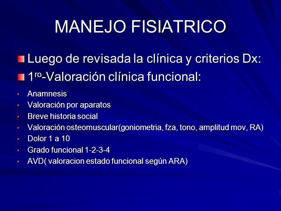 MANEJO FISIATRICO Luego de revisada la clínica y criterios Dx: 1 ro -Valoración clínica funcional: Anamnesis Anamnesis Valoración por aparatos Valorac