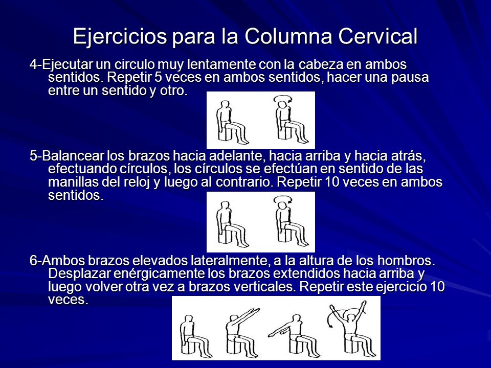 Ejercicios para la Columna Cervical 4-Ejecutar un circulo muy lentamente con la cabeza en ambos sentidos. Repetir 5 veces en ambos sentidos, hacer una