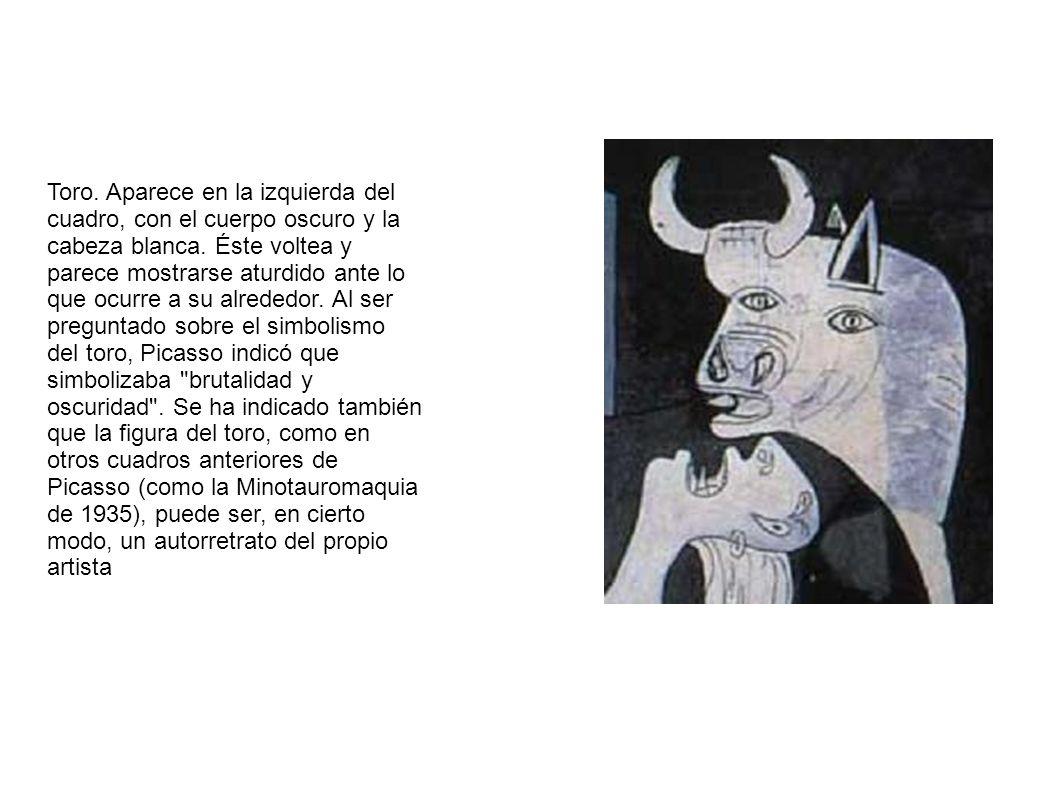 Toro.Aparece en la izquierda del cuadro, con el cuerpo oscuro y la cabeza blanca.