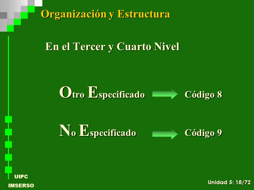 UIPC IMSERSO En el Tercer y Cuarto Nivel O tro E specificadoCódigo 8 N o E specificadoCódigo 9 N o E specificado Código 9 Organización y Estructura Un