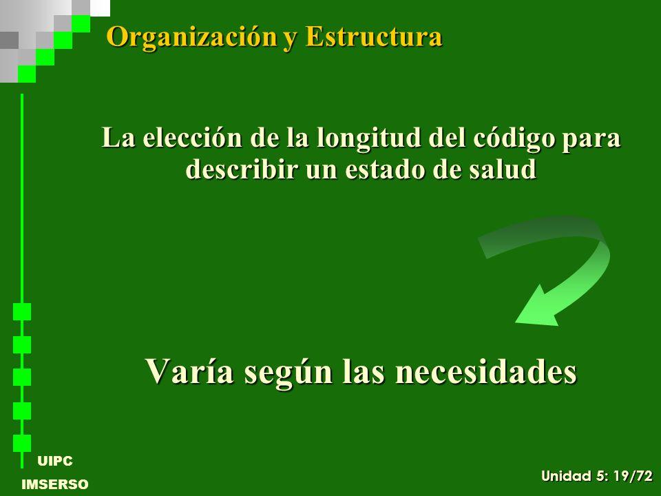 UIPC IMSERSO La elección de la longitud del código para describir un estado de salud Varía según las necesidades Organización y Estructura Unidad 5: 1