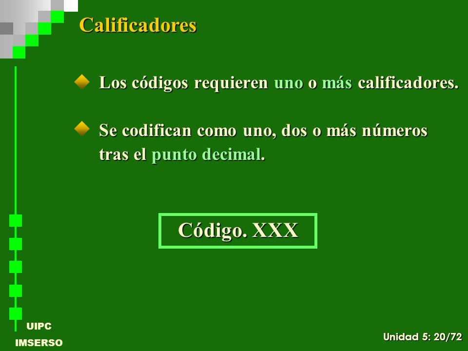 UIPC IMSERSO Los códigos requieren uno o más calificadores. Se codifican como uno, dos o más números tras el punto decimal. Calificadores Código. XXX
