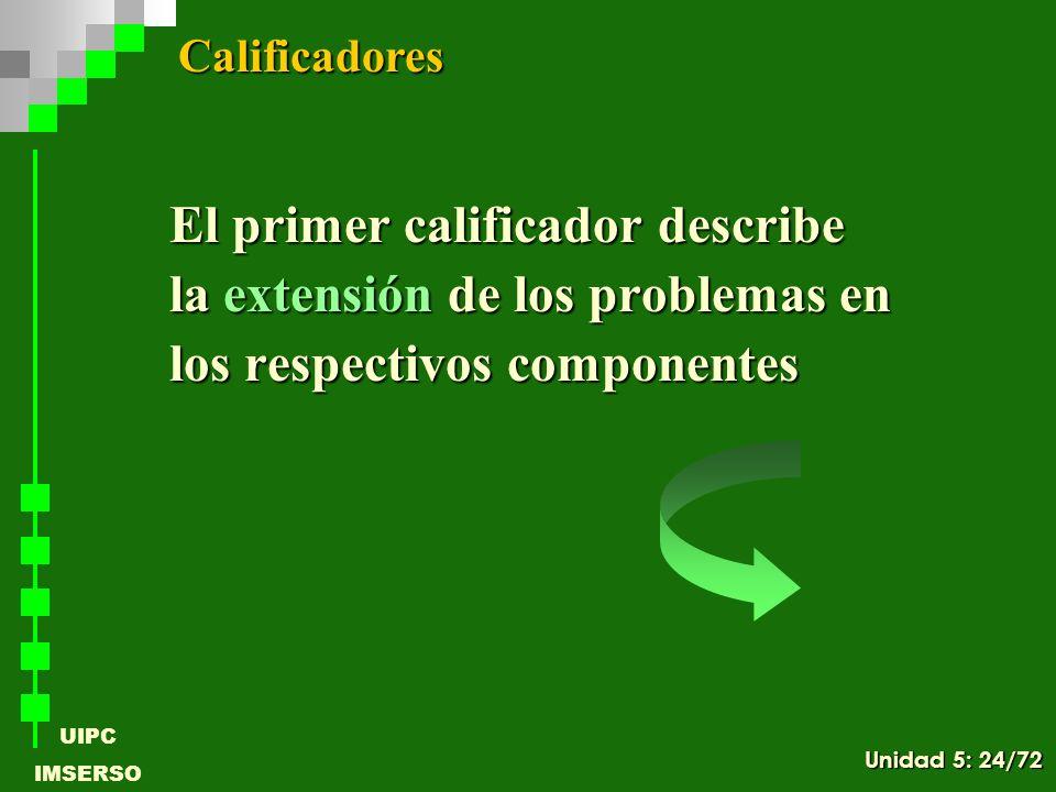 UIPC IMSERSO El primer calificador describe la extensión de los problemas en los respectivos componentes Calificadores Unidad 5: 24/72