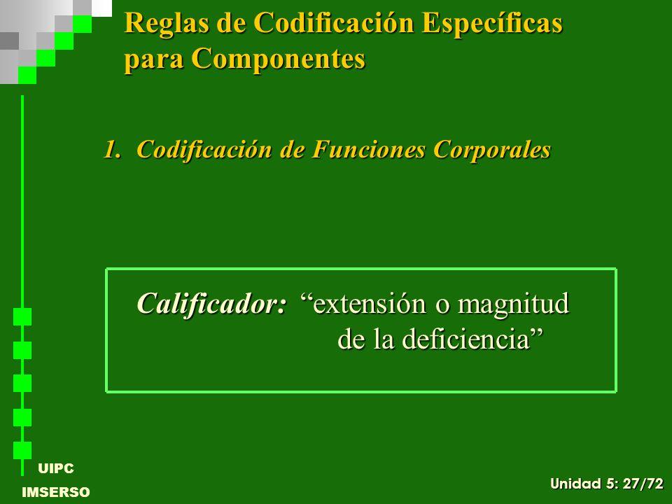UIPC IMSERSO 1.Codificación de Funciones Corporales Calificador: extensión o magnitud de la deficiencia Reglas de Codificación Específicas para Compon