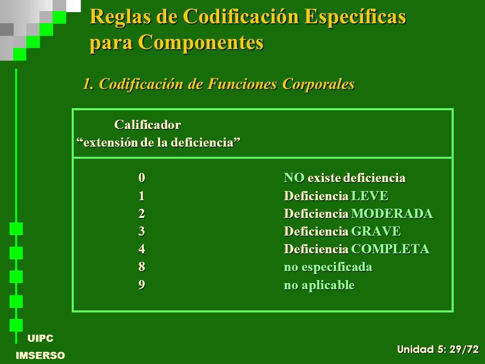 UIPC IMSERSO 1. Codificación de Funciones Corporales 1. Codificación de Funciones Corporales Calificador Calificador extensión de la deficiencia exten