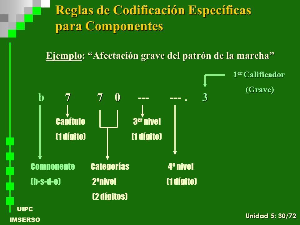 UIPC IMSERSO Ejemplo: Afectación grave del patrón de la marcha 7 7 03 b 7 7 0 --- ---. 3 ComponenteCategorías 4º nivel (b-s-d-e) 2ºnivel (1 dígito) (2