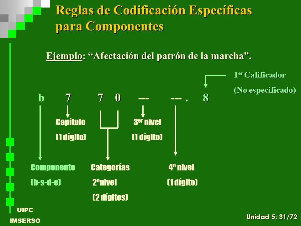 UIPC IMSERSO Ejemplo: Afectación del patrón de la marcha. 7 7 08 b 7 7 0 --- ---. 8 ComponenteCategorías 4º nivel (b-s-d-e) 2ºnivel (1 dígito) (2 dígi