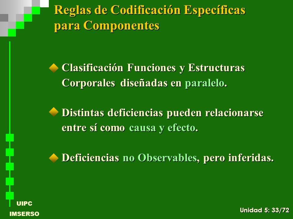UIPC IMSERSO Clasificación Funciones y Estructuras Clasificación Funciones y Estructuras Corporales diseñadas en paralelo. Distintas deficiencias pued