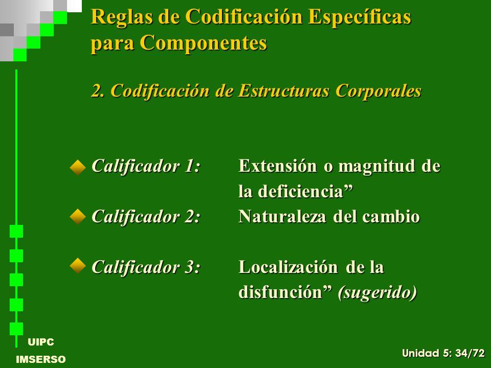 UIPC IMSERSO 2. Codificación de Estructuras Corporales 2. Codificación de Estructuras Corporales Calificador 1:Extensión o magnitud de la deficiencia