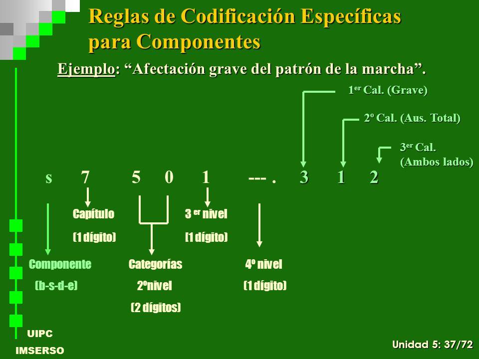 UIPC IMSERSO Ejemplo: Afectación grave del patrón de la marcha. 3 1 2 s 7 5 0 1 ---. 3 1 2 Componente Categorías 4º nivel (b-s-d-e) 2ºnivel (1 dígito)