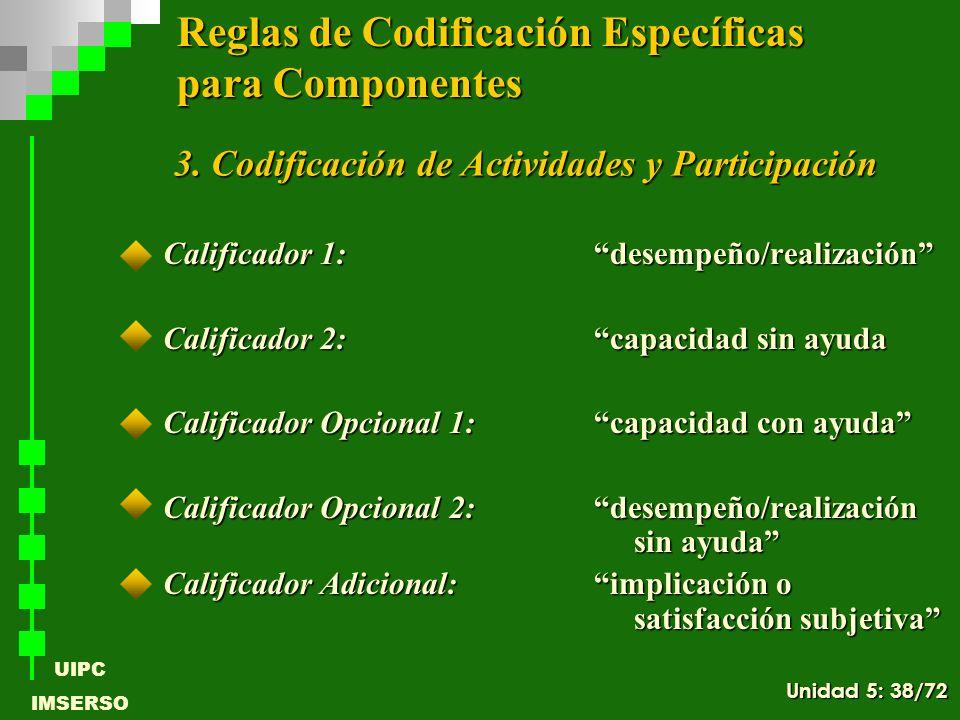 UIPC IMSERSO Calificador 1: desempeño/realización Calificador 2: capacidad sin ayuda Calificador Opcional 1: capacidad con ayuda Calificador Opcional