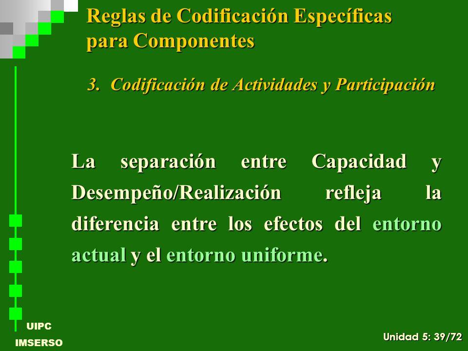 UIPC IMSERSO 3.Codificación de Actividades y Participación La separación entre Capacidad y Desempeño/Realización refleja la diferencia entre los efect