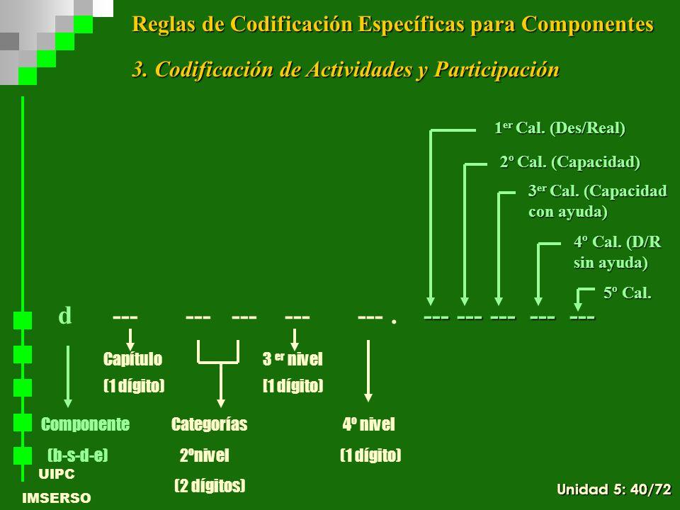 UIPC IMSERSO --- --- --- --- --- d --- --- --- --- ---. --- --- --- --- --- ComponenteCategorías 4º nivel (b-s-d-e) 2ºnivel (1 dígito) (2 dígitos) Cap
