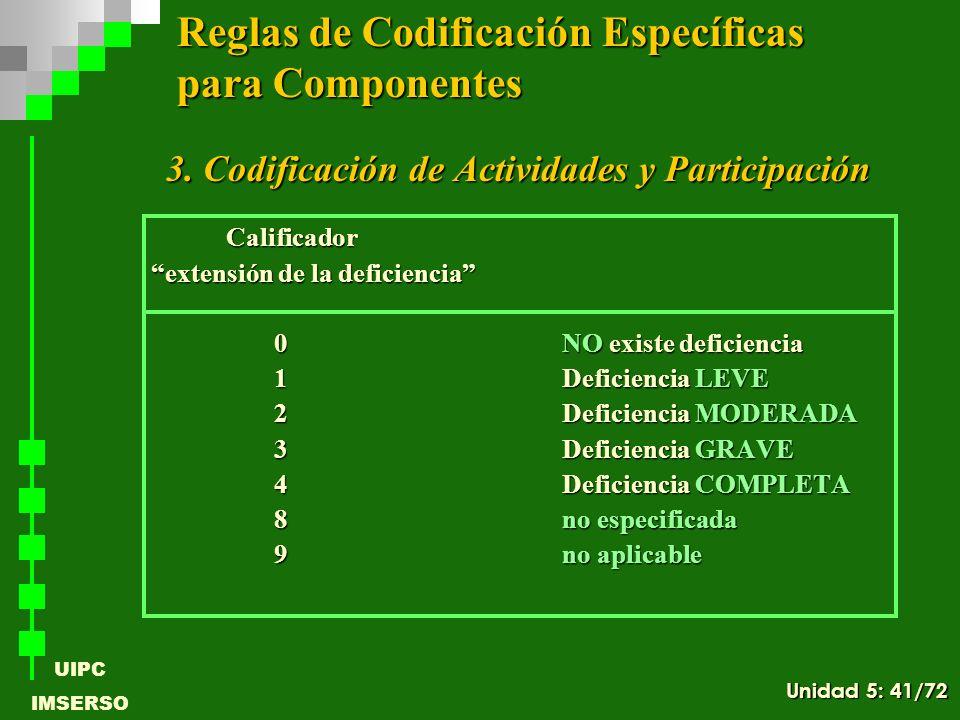 UIPC IMSERSO 3. Codificación de Actividades y Participación 3. Codificación de Actividades y Participación Calificador Calificador extensión de la def