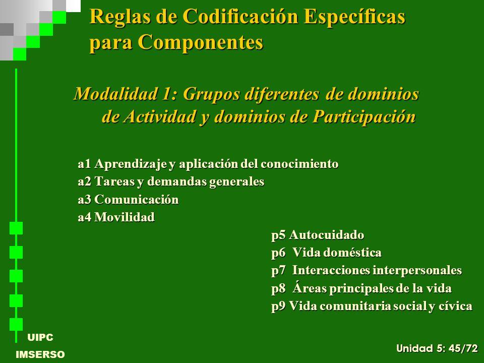 UIPC IMSERSO a1 Aprendizaje y aplicación del conocimiento a2 Tareas y demandas generales a3 Comunicación a4 Movilidad p5 Autocuidado p6 Vida doméstica