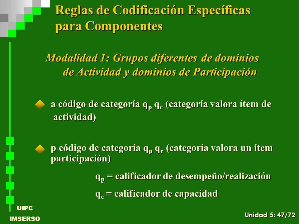 UIPC IMSERSO a código de categoría q p q c (categoría valora ítem de actividad) actividad) p código de categoría q p q c (categoría valora un ítem par