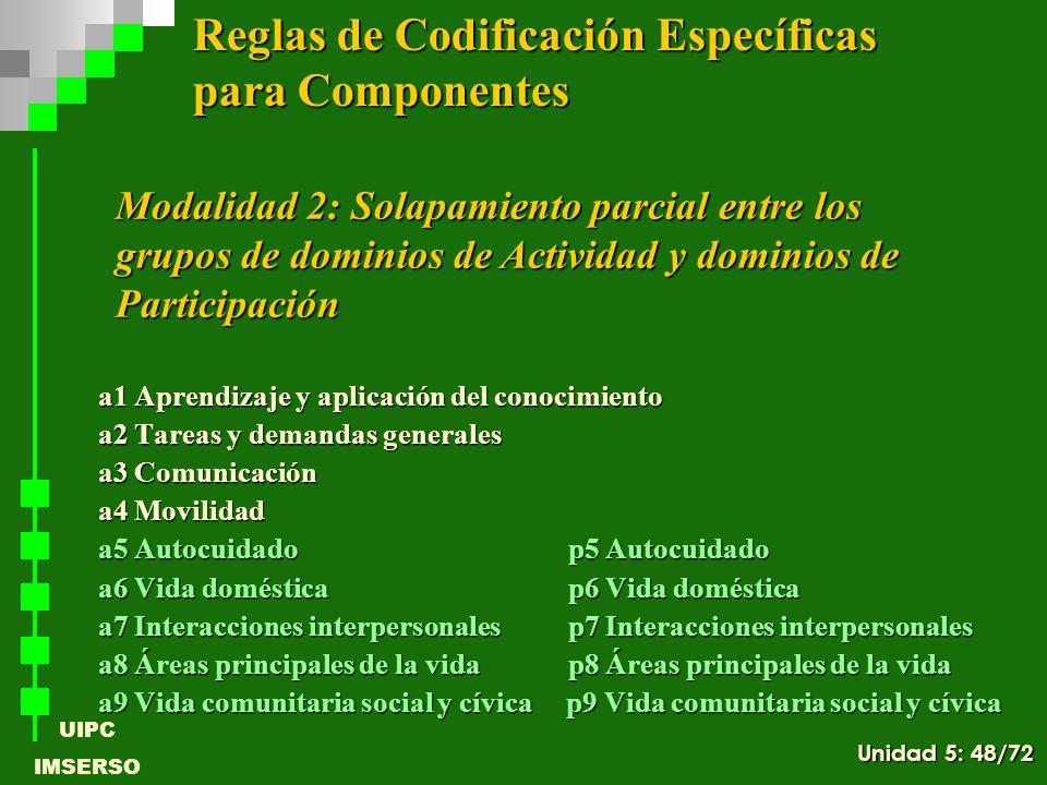 UIPC IMSERSO a1 Aprendizaje y aplicación del conocimiento a2 Tareas y demandas generales a3 Comunicación a4 Movilidad a5 Autocuidado p5 Autocuidado a6