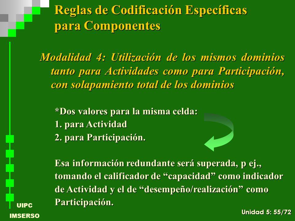 UIPC IMSERSO *Dos valores para la misma celda: 1. para Actividad 2. para Participación. Esa información redundante será superada, p ej., tomando el ca