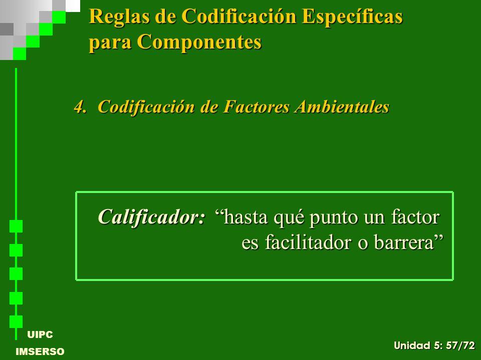 UIPC IMSERSO 4.Codificación de Factores Ambientales Calificador: hasta qué punto un factor es facilitador o barrera Reglas de Codificación Específicas