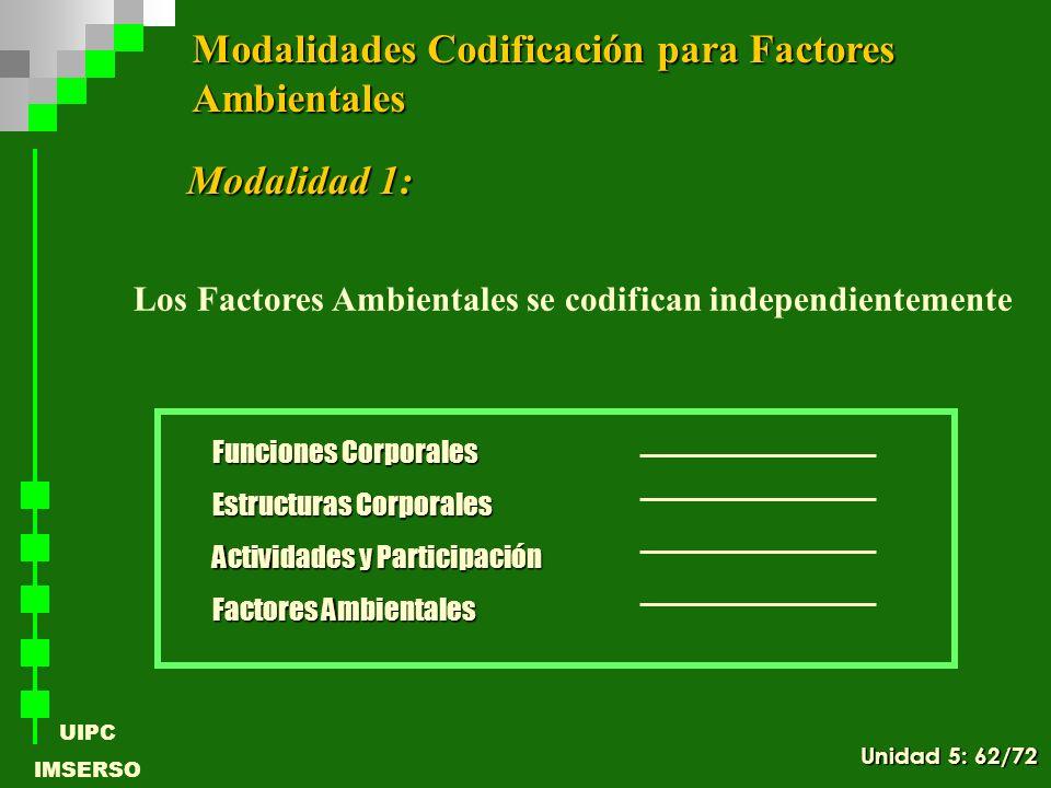 UIPC IMSERSO Modalidad 1: Funciones Corporales Estructuras Corporales Actividades y Participación Factores Ambientales Modalidades Codificación para F