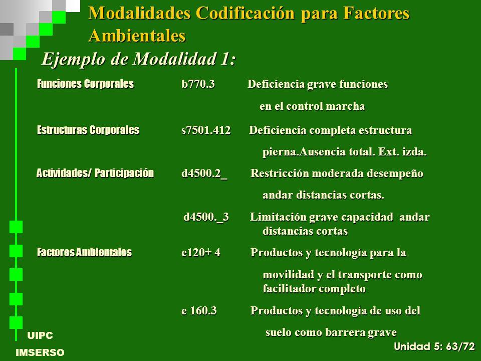 UIPC IMSERSO Ejemplo de Modalidad 1: Funciones Corporales b770.3 Deficiencia grave funciones en el control marcha en el control marcha Estructuras Cor