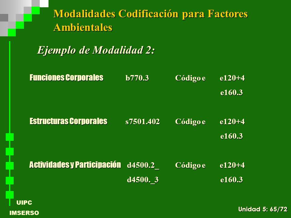 UIPC IMSERSO Ejemplo de Modalidad 2: Funciones Corporales b770.3Código e e120+4 e160.3 e160.3 Estructuras Corporales s7501.402Código e e120+4 e160.3 e