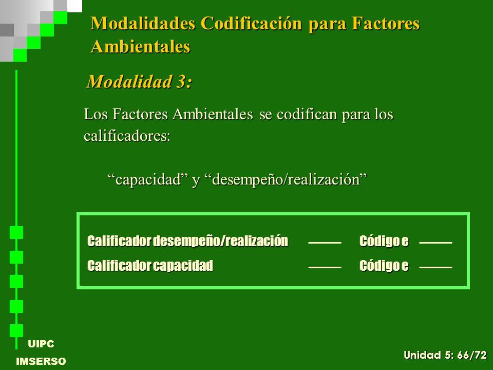 UIPC IMSERSO Los Factores Ambientales se codifican para los calificadores: capacidad y desempeño/realización Calificador desempeño/realización Calific