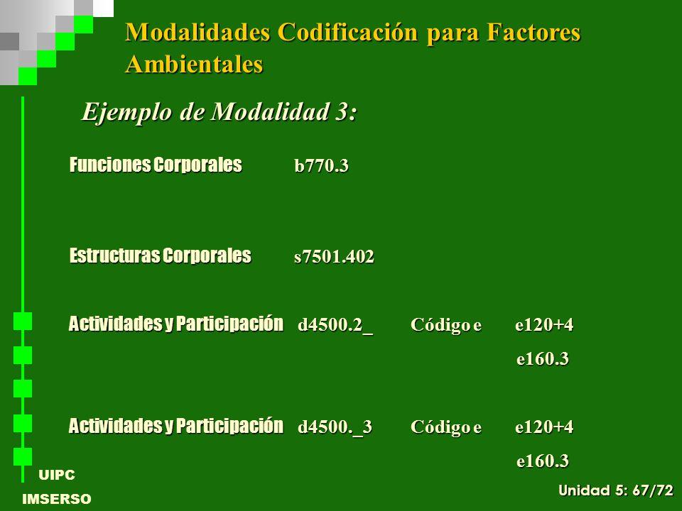 UIPC IMSERSO Ejemplo de Modalidad 3: Funciones Corporales b770.3 Estructuras Corporales s7501.402 Actividades y Participación d4500.2_Código e e120+4
