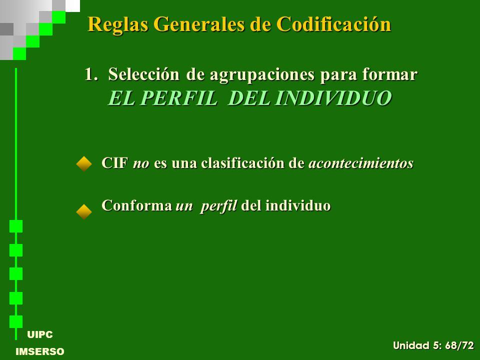 UIPC IMSERSO CIF no es una clasificación de acontecimientos Conforma un perfil del individuo Reglas Generales de Codificación 1.Selección de agrupacio