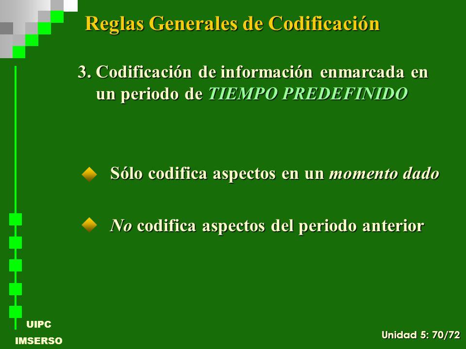 UIPC IMSERSO Sólo codifica aspectos en un momento dado No codifica aspectos del periodo anterior 3. Codificación de información enmarcada en un period