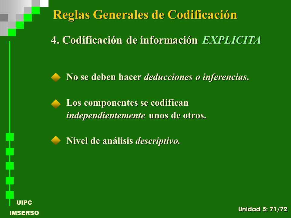 UIPC IMSERSO No se deben hacer deducciones o inferencias. Los componentes se codifican independientemente unos de otros. Nivel de análisis descriptivo