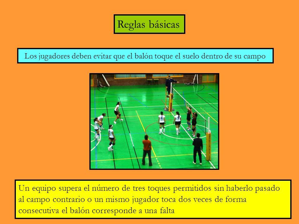 Reglas básicas Los jugadores deben evitar que el balón toque el suelo dentro de su campo Un equipo supera el número de tres toques permitidos sin haberlo pasado al campo contrario o un mismo jugador toca dos veces de forma consecutiva el balón corresponde a una falta