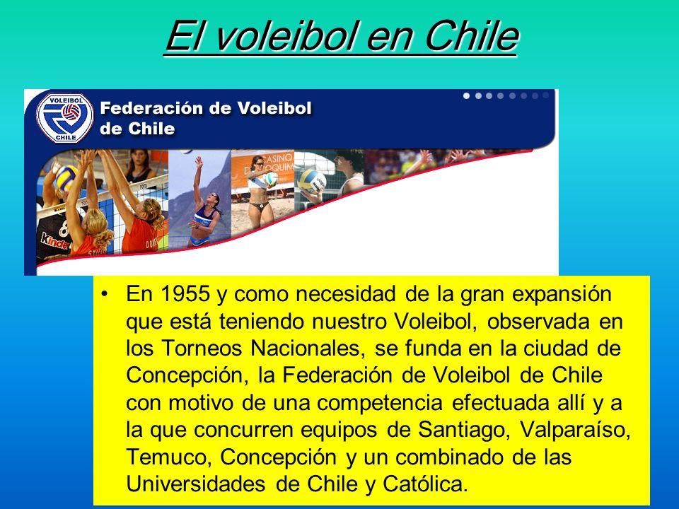 El voleibol en Chile En 1955 y como necesidad de la gran expansión que está teniendo nuestro Voleibol, observada en los Torneos Nacionales, se funda e