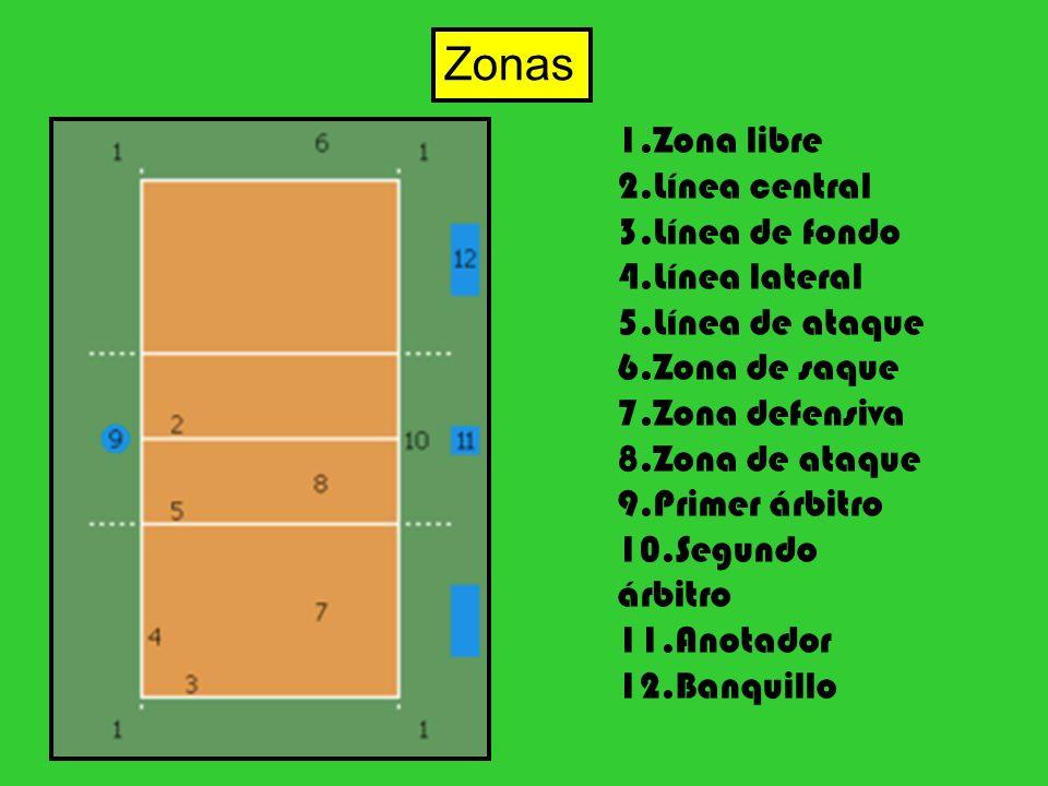 1.Zona libre 2.Línea central 3.Línea de fondo 4.Línea lateral 5.Línea de ataque 6.Zona de saque 7.Zona defensiva 8.Zona de ataque 9.Primer árbitro 10.