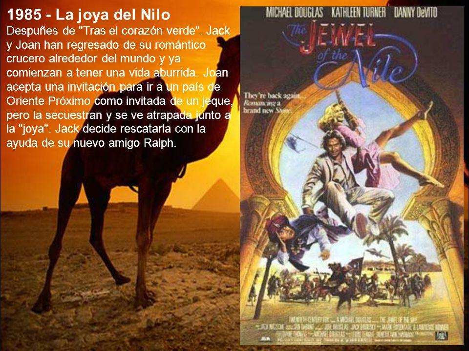 1984 - Tras el corazón verde Joan Wilder, una escritora de novelas románticas, debe viajar a Colombia con un misterioso paquete para que su hermana se