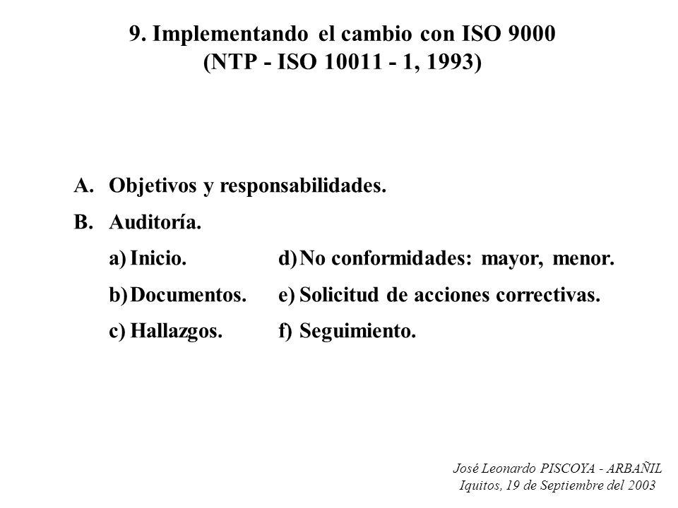 José Leonardo PISCOYA - ARBAÑIL Iquitos, 19 de Septiembre del 2003 9. Implementando el cambio con ISO 9000 (NTP - ISO 10011 - 1, 1993) A.Objetivos y r