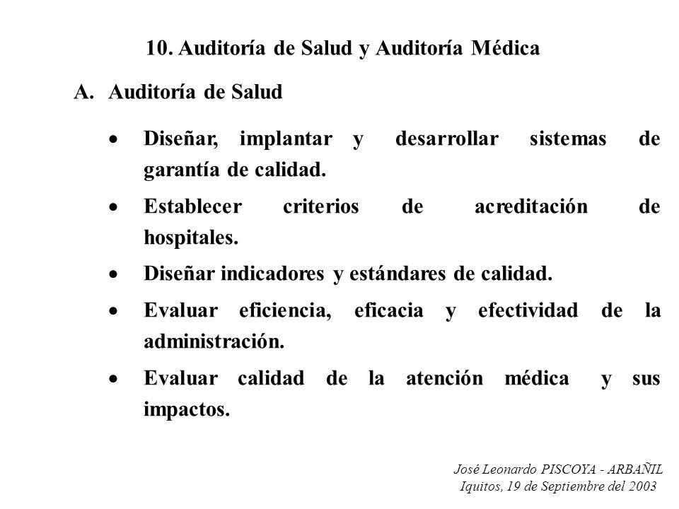 José Leonardo PISCOYA - ARBAÑIL Iquitos, 19 de Septiembre del 2003 10. Auditoría de Salud y Auditoría Médica Diseñar, implantar y desarrollar sistemas