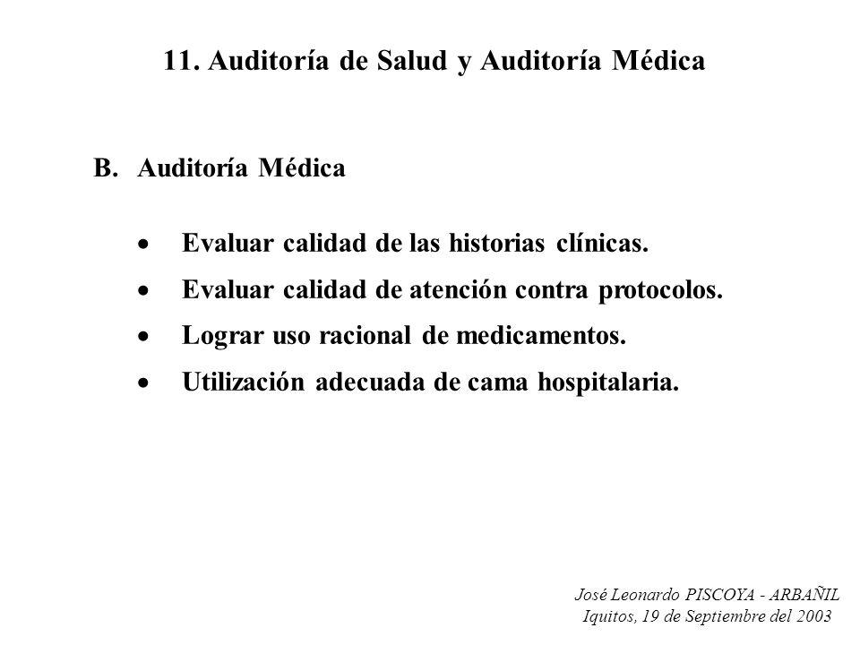 José Leonardo PISCOYA - ARBAÑIL Iquitos, 19 de Septiembre del 2003 11. Auditoría de Salud y Auditoría Médica Evaluar calidad de las historias clínicas