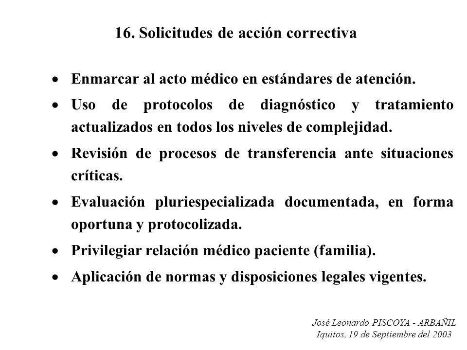 José Leonardo PISCOYA - ARBAÑIL Iquitos, 19 de Septiembre del 2003 16. Solicitudes de acción correctiva Enmarcar al acto médico en estándares de atenc